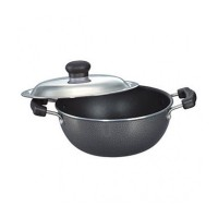 Omega Select Plus Flat Base Kadai 200 mm with SS Lid