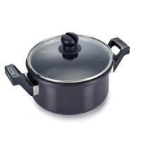 Clip on hard anodised 3 ltr pressure cookware with Glass lid ladle holder