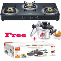Buy Royale Plus Schott Glass Top GT 03 L and Clip on Mini 3L Omega Deluxe Build Your Kitchen Set 3pcs Set worth Rs.6210 at a special combined price of Rs.9835 save Rs.5970