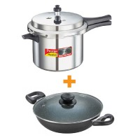 Prestige Popular Plus Pressure Cookers 5 Litre With Omega Deluxe Granite Kadai 260 mm with lid Special Combo Offer