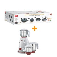 Prestige Omega Deluxe Granite 4 pc Cookware set With Mixer Grinders Tulip Classic Special Combo Offer