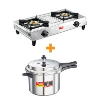 Prestige Stainless Steel Gas Stove Eco With Popular Plus Pressure Cookers 3 Litre Special Combo Offer