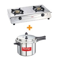 Prestige Gas Stove Agni Deluxe With Popular Pressure Cooker 5 Litre Special Combo Offer