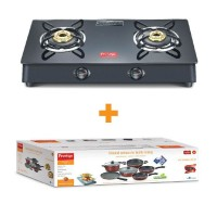 Prestige Marvel Plus Glass Top Gas Table GTM 02 Black With Omega Deluxe in a Box Set 6 pcs Set Special Combo Offer