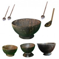 Traditional Rice Porridge Bowls and Spoon
