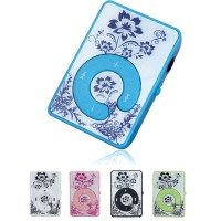 Mini Clip Vintage Flower Pattern MP3 Player Music Media Support Micro SD TF Card Colour May Very