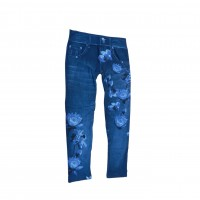 Women Sexy Skinny Mid Waisted Jegging Stretch Denim Short Length Printed Leggins 0367