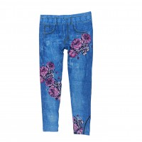 Women Sexy Skinny Mid Waisted Jegging Stretch Denim Short Length Printed Leggins 0369
