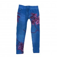 Women Sexy Skinny Mid Waisted Jegging Stretch Denim Short Length Printed Leggins 0370