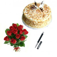 Amazing Gift Pack 2.5 Kg Butter Scotch Cake and Parker Pen with 25 Red Roses