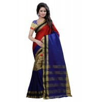 Aura Beauty Blue Red Saree FS102