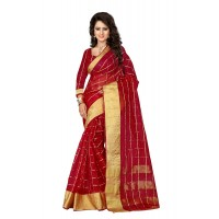 Aura Beauty Orgenza Baby Pink Saree Orgenza Red