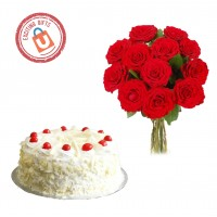25 Red Roses with White Forest Cake 1kg