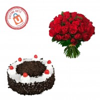100 Red Roses with Black Forest Cake 1kg