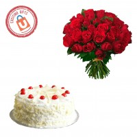 100 Red Roses with White Forest Cake 1kg