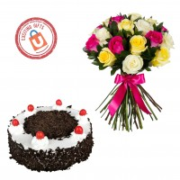 25 Mixed Roses with Black Forest Cake 1kg