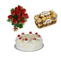 Amazing Gift Pack of 1Kg White Forest, Ferrero Rocher Chocolate and Rose Bunch 12 Stems GT003