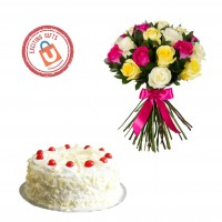 25 Mixed Roses with White Forest Cake 1kg