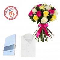 25 Mixed Roses With MCR Shirt and Dhothi