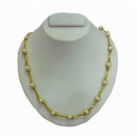 Pearl & gold plated necklace P6