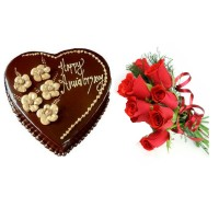 Heart Shaped Chocolate Cake and Red Roses 12 Stems