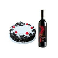 1 Kg Black Forest Cake and Non Alcoholic Red Wine
