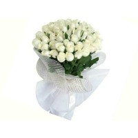 60 White Roses Bouquet