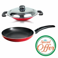 Impex Marble Coated Fry Pan 24 cm with Nonstick Appachatty Special Combo Offer