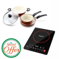 Impex Ceramic Coated Nonstick 3 Pcs Set with Nonstick Appachatty Special Combo Offer