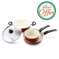 Impex Ceramic Coated Non-stick 3 Pcs Set Pearl KSF 484