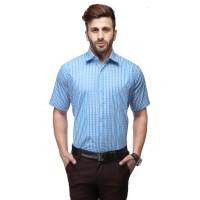 Koolpal's Men's Shirt  Regular Fit Formal Blue & White GN001