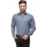 Koolpals Men's Regular Fit Formal Shirt- Blue& Cream