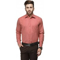 Koolpals Men's Regular Fit Formal Shirt- Red &Cream GN004