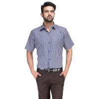 Koolpals Men's Formal Shirt -Rich Cotton Blend-Beige And Blue Checks GN008