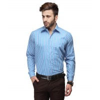 Koolpal's Men's Regular Fit Formal Shirt-Blue &White GN010