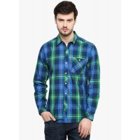 Yepme Men's Blue and Green Casual Shirt GN018
