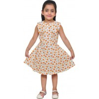 Pari and Prince Girls Frock-Orange GN124