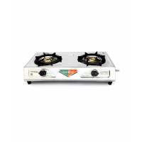 Greenchef Chandini Black and Silver Glass Top Kitchen Tool Set -2 Burner HM015