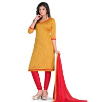 Vismay churidar material chanderi with manipuri printed Goldenrod and Crimson free size