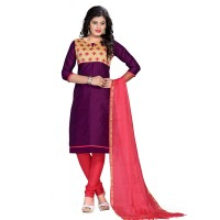Vismay churidar material fancy silk with embroidered mirror work Purple and Tomato FREE SIZE