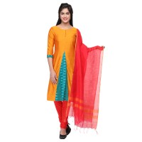 Vismay artsilk with fancy printed churidar material Gold and OrangeRed Free size