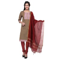 Vismay churidar material artsilk with fancy printed RosyBrown and Maroon Free size