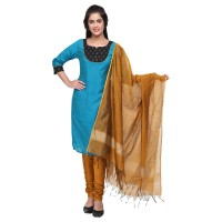 Vismay churidar material artsilk with fancy printed Dark SkyBlue and Dark Goldenrod Free size
