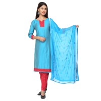 Vismay Churidar Material Art Silk Skyblue And Red Plain With Border