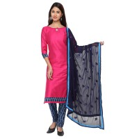 Vismay Churidar Material Art Silk Hotpink And Midnight Blue Plain With Border