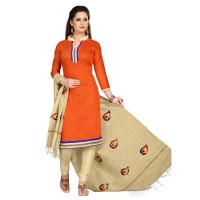 Vismay churidar material art silk orangered & wheat patch with border