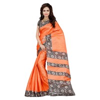 Vismay Printed Khadi Silk Orange Saree with Unstitched Blouse
