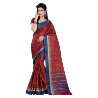 Vismay Printed Khadi Silk  Dark red Saree with Unstitched Blouse
