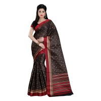 Vismay Printed Khadi Silk Brown Saree with Unstitched Blouse