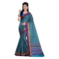 Vismay Printed Khadi Silk Blue Saree with Unstitched Blouse FS630